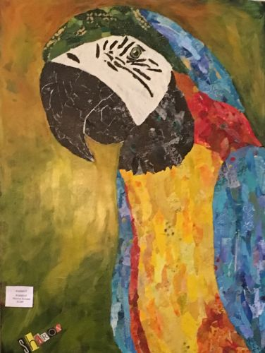 Paco the Parrot, Torn paper collage with mixed media by Sharon Krulak