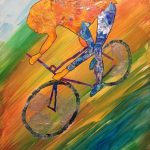 Mountain Biker, (C)Sharon Krulak. Torn paper collage, mixed media 20x24